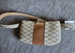 MICHAEL KORS MK Fanny Pack MK Logos Belt Bag Pouch Acorn /Tan $65 Small /Med NWT