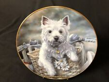 """Danbury Mint """"Hitching a Ride� West Highland Terriers By Paul Doyle 8&1/8� Plate"""