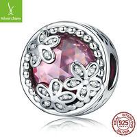 Silver 925 charm Elegant Daisy Flowers Pink CZ Beads Fit Original Charm Bracelet