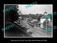 OLD LARGE HISTORIC PHOTO OF MORRISTOWN NEW JERSEY, THE RAILROAD YARDS c1900