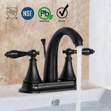 """Bathroom Faucet Bronze 4"""" Centerset Lavatory Mixer Tap 2 Handle W/ Pop Up Drain"""