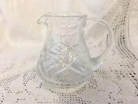 """Retro Vintage Cut Glass Crystal Milk Jug Tableware 3.75"""" Tall"""