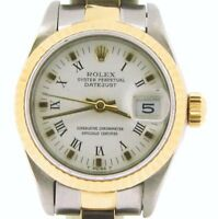 Rolex Datejust Ladies 2Tone Gold & Stainless Steel Watch White Roman Dial 69173