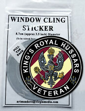 KING'S ROYAL HUSSARS, VETERAN WINDOW CLING STICKER  8.7cm Diameter