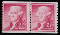 US Scott #1055b, LINE PAIR 1968 Jefferson 2c FVF MNH