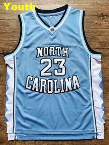 Youth Kids Michael Jordan #23 Basketball Jersey North Carolina Tarheel Sewn BLUE