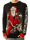 Ugly Christmas Party Sweater Unisex Men's Rebel Without a Claus Santa on