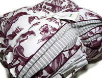 Pottery Barn Purple Gray Marcia Reversible Ticking Stripe Full Queen Comforter