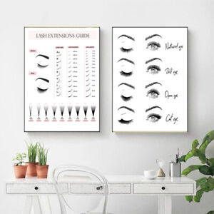 Lash Extensions Guide Posters and Prints Makeup Wall Art  Decor Eyelash Art'