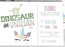 PERSONALISED BIRTHDAY INVITES PARTY INVITATIONS Unicorn And Dinosaur Party X12