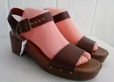 AMERICAN EAGLE Women's Sandal Brown Leather Wedge Heel Buckle Strap Sz 10 NEW
