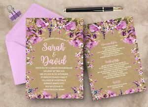 x10 Personalised Double Sided Wedding Invitations Invites Coloured Envelopes