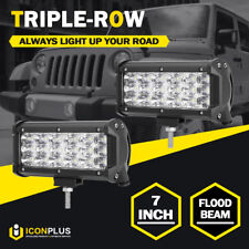 Pair 7inch 252W TRI ROW LED Work Light Bar FLOOD Offroad 4x4 Driving Lamp SUV 6""