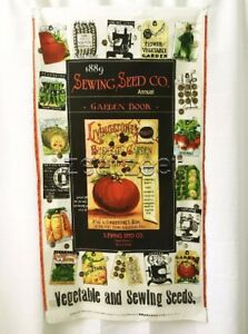 """SEWING SEEDS PANEL Cream Vintage Gardening Quilt Fabric by the 24""""Wx45""""L Panel"""