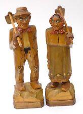 Vintage Wood Figures Man & Woman Hoes over Shoulders Clogs Wood Shoes