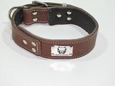 Collare cane vero cuoio  interno morbida pelle comodo logo in metallo  cm.65