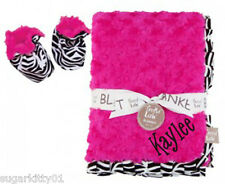 Personalized Pink Rosette Velour Zebra Ruffle Trim Blanket & Booties Set