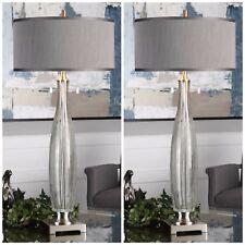 "TWO 39"" SMOKE GRAY MODERN GLASS TABLE LAMP LINEN AGED BRUSHED NICKEL METAL LIGHT"