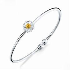 Xmas Elegant Silver Daisy Flower Bangle Sunflower Bracelet Girl Lady Jewelry