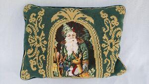 """Santa Claus Christmas Needlepoint Pillow 16 x 11"""""""