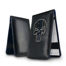 Golf Scorecard Yardage Book Holder Cover Skull and Star Pattern Black Leather