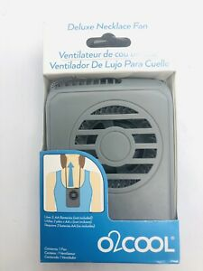 O2 COOL Deluxe Necklace speed Battery Personal Fan - Grey