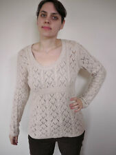 MICHAEL KORS Lace Knit 100% WOOL ANGORA Fitted Scoop Neck Womens SWEATER M