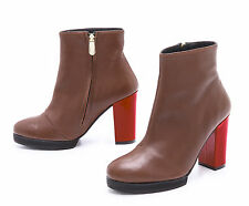 WON HUNDRED Hydro Platform Ankle Boots Booties Brown Leather Red Heel -41 10 NEW