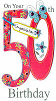 Gorgeous 50th Age 50 Birthday Greeting Card Hand-Finished Champagne Range Cards