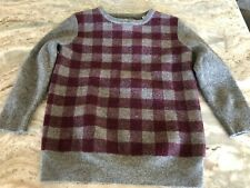 Felted Sweater 100% Wool Cutter Crafts Gray & Purple Check