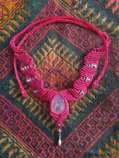 Macrame Necklace Pendant Jewelry Rose Stone Handmade Bohemian
