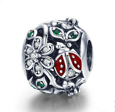 NEW 925 Silver beetle European CZ Charm Spacer Beads Fit Necklace Bracelet ——