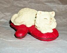 1995 Hallmark Clip On Ornament Cat Naps White Kitty On Oven Mitt Clip To Tree