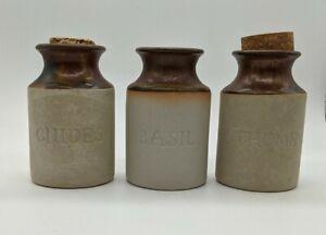 Old Vintage Stoneware Pottery Spice Herb Jar Cork Lid Environmental Ceramics