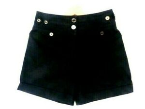 FAB BURBERRY LADIES BLACK TAILORED SHORTS NOVA CHECK PIPING SIZE 10 LOGO BUTTONS