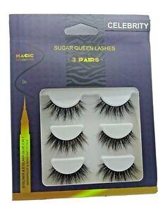 Pack of 3 - 3D Mink lashes with Tweezers & Black Adhesive Liner (Magic eyeliner)
