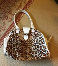 White patent leather leopard calf hair handbag Clever Carriage HSN QVC
