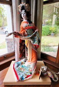 Vintage Japanese Geisha Doll Gofun Silk Wedding Attire Samurai Helmet Kabuto