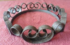 Wrought iron Ring Part ? Swirl Lamp Part or Planter pot bowl base Hand made
