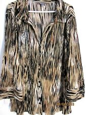 LADIES BROWN WHITE &  GOLD TONED  LONG SLEEVED SHIRT SIZE 18 KATIES BRAND