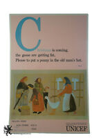 """Rare Vtg 36"""" UNICEF Christmas Holiday Poster Selling Geese Peasant Women Italy"""