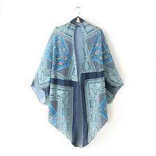 Women Floral Hippie Cardigan Coat Blouse Kimono Chiffon Cape Blazer Jacket Tops Style B S