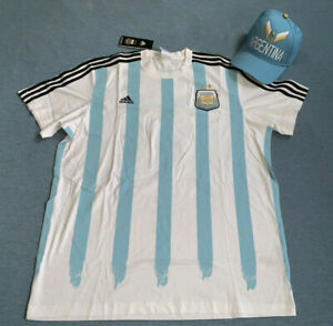 Adidas Argentina MESSI SHIRT [G87805] Size XL & 2014 World CUP Hat Y407Z NEW LOT