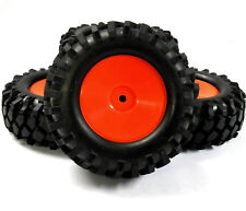 A960004 1/10 Scale Off Road Rock Crawler Wheel and Tyres x 4 Red Plastic Disc