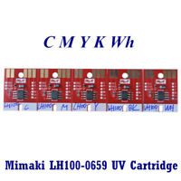 Generic Chip permanent for Mimaki LH100-0659 UV Cartridge 5 colors CMYKWh