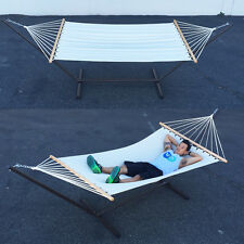 Garden Furniture Double Canvas Hammock with Heavy Duty Steel Stand Outdoor
