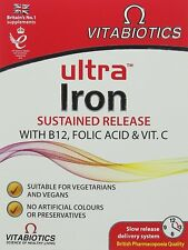 2 x Vitabiotics Ultra Iron 30 Tablets Sustained Release With B12, Folic Acid