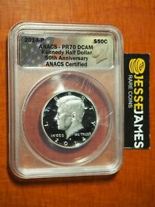 2014 P PROOF SILVER KENNEDY HALF DOLLAR ANACS PR70 DCAM FROM THE 50TH ANN SET