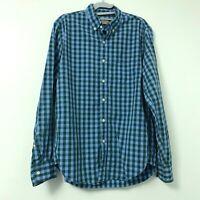 J.Crew Men's Green Blue Plaid Long Sleeve Button Down Woven Shirt Size Medium