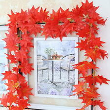 2.3M Trendy Red Autumn Leaves Garland Maple Leaf Vine Fake Foliage Home Decor